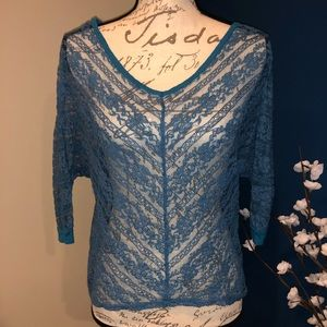 Sheer lace turquoise blouse